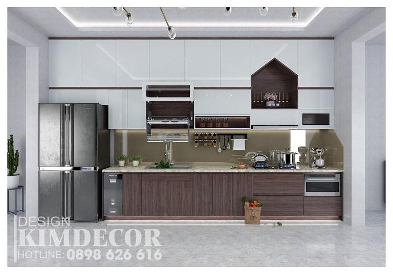 Một căn bếp với gam màu ấm áp tại nội thất Kim Decor - nội thất Quảng Bình